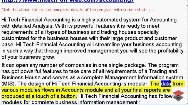 HiTech Business Software - Point of Sale, Nonprofit and Accounting, http://www.freeaccounting.in provides accounting software, payroll, point of sale, job cost, e-commerce, nonprofit accounting, fund accounting, and business.